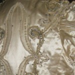 Elaborate decoration on bodice of wedding dress