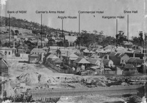 Centre frame of panorama showing the Bank of New South Wales, the Carriers Arms Hotel, Argyle House, the Commercial Hotel, the Kangaroo Hotel and the Shire Hall.
