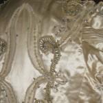 Elaborate decoration on bodice of wedding dress