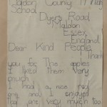 Eight year old pupil's letter of thanks